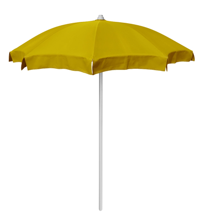 sunshade: Yellow beach umbrella isolated on white. Clipping path included. Stock Photo