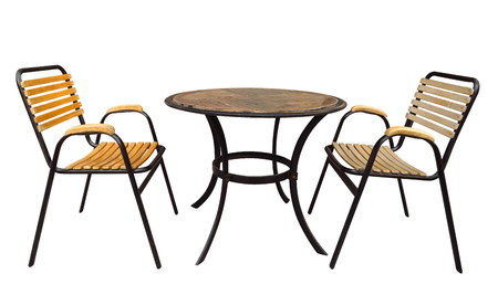 Cafe table and chairs isolated on white with Clipping Path