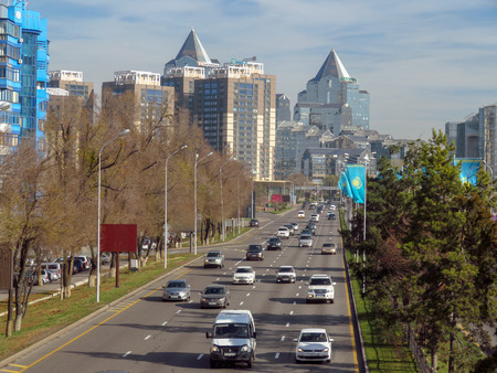 Almaty, Kazakhstan - November 9, 2017: The complex of buildings along Al-Farabi avenue in Almaty, Kazakhstan