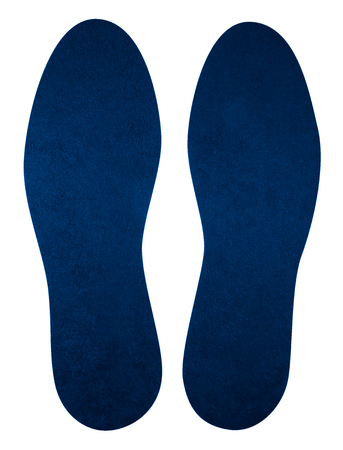 Blue insoles for shoes isolated on white. Clipping Path included.