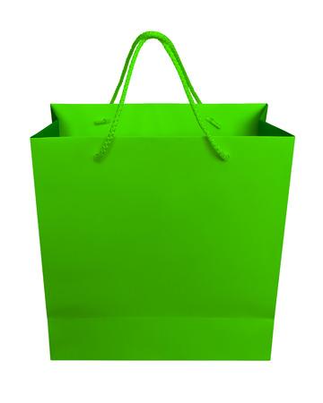 클리핑 패스와 함께 흰색 절연 녹색 종이 봉지