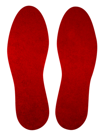 Red insoles for shoes isolated on white. Clipping Path included. Stock Photo