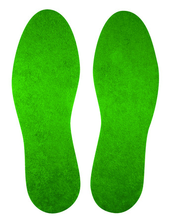 Green insoles for shoes isolated on white. Clipping Path included.