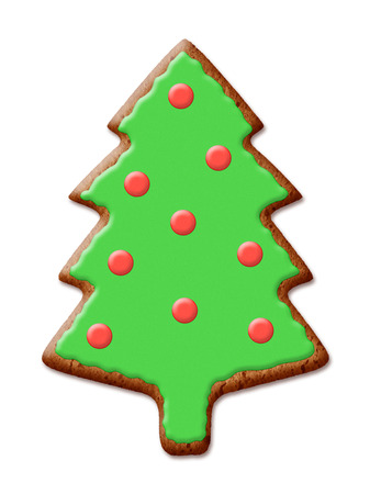 Christmas Fir Tree Cookies with shadow over white background