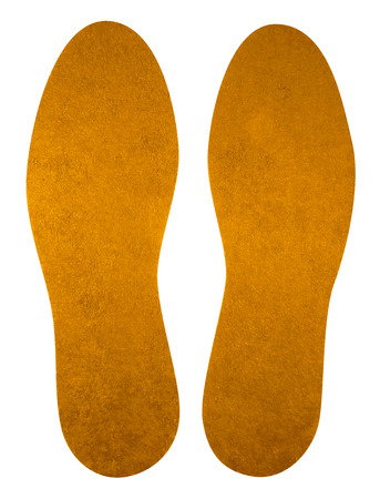 Yellow insoles for shoes isolated on white. Clipping Path included.