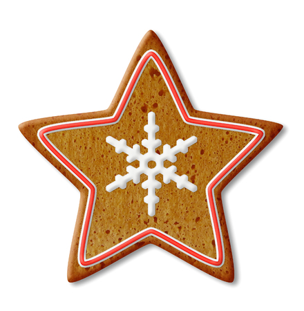 Christmas Star Cookies with shadow over white background