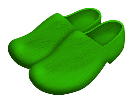 Pair of green traditional Dutch wooden shoes isolated on white Stock Photo