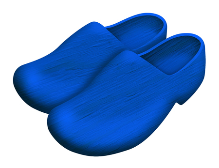 Pair of blue traditional Dutch wooden shoes isolated on white