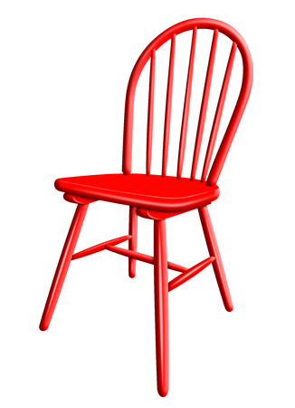 Red plastic chair isolated on white background Stock Photo