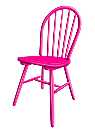Pink plastic chair isolated on white background