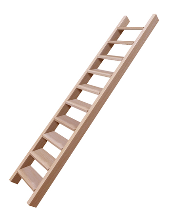 3D rendering of wooden ladder isolated on white