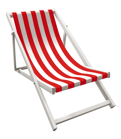 3D rendering of red and white striped chaise lounger isolated on white