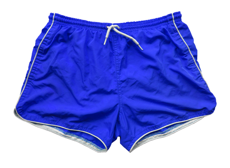 Blue swimming shorts isolated on white 写真素材