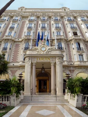 Cannes, France - July 3, 2018: Front entrance view of the famous Carlton International Hotel located on the Croisette boulevard in Cannes, France Editorial