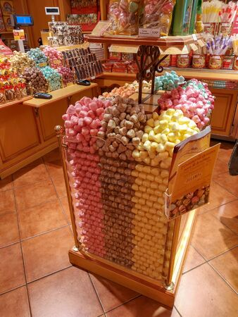 Saint Paul de Vence, France - July 9, 2018: A confectionery shop in the old town.