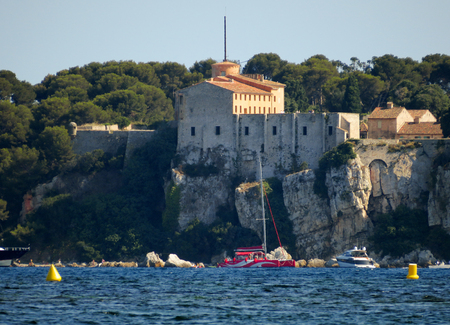 Fort Royal Sainte-Marguerite on the island, the largest of the Lerins Islands, about half a mile off shore from the French Riviera town of Cannes.