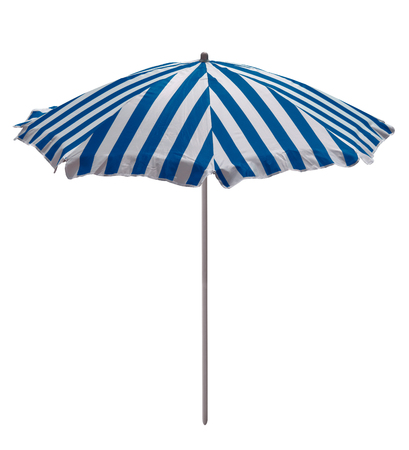 Light blue-white striped beach umbrella isolated on white. Clipping path included.