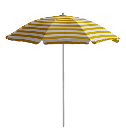 Yellow-white striped beach umbrella isolated on white. Clipping path included.