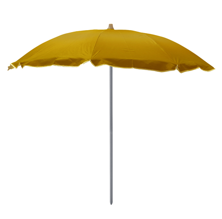 Yellow beach umbrella isolated on white. Clipping path included. Foto de archivo