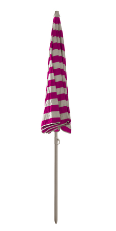 Closed pink striped beach umbrella isolated on white. Clipping path included. Archivio Fotografico