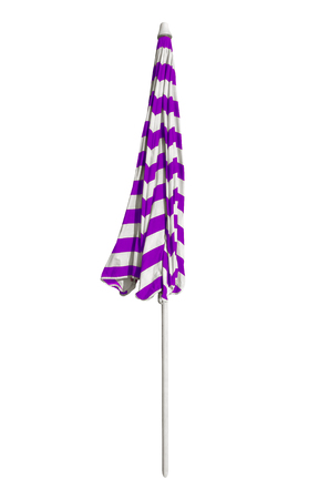 Closed violet striped beach umbrella isolated on white. Clipping path included.