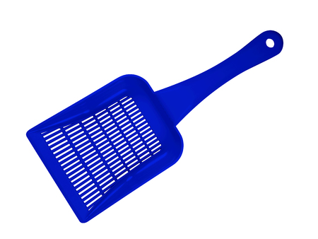 Blue plastic scoop for toilet isolated on white background. Clipping Path included.
