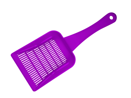 Violet plastic scoop for toilet isolated on white background. Clipping Path included.