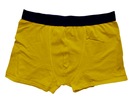 Yellow male underwear isolated on white background. Clipping path included.