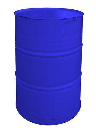 Single blue metallic barrel, isolated on white background. Clipping Path included.