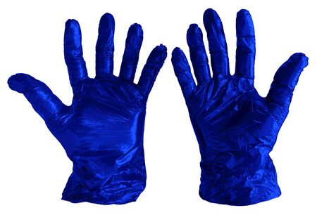 Disposable blue plastic gloves isolated on white. Clipping path included.