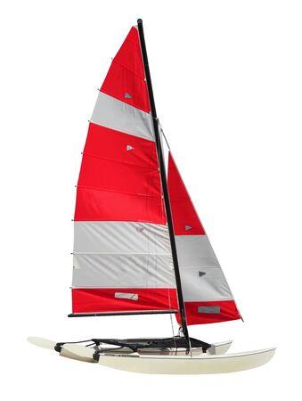 Catamarán de vela aislado sobre fondo blanco. con .