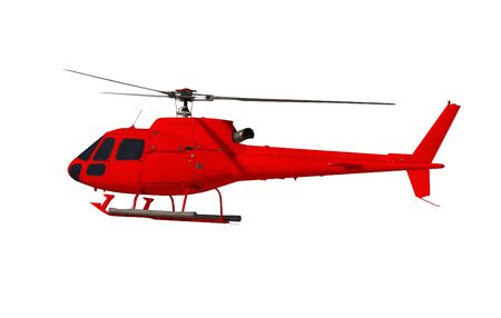 Red helicopter isolated on white. Photo with clipping path. 免版税图像