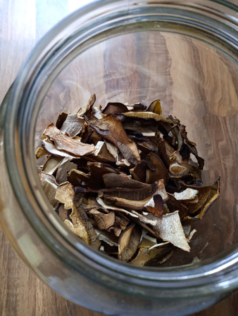 Dried mushrooms for food preparation and cooking, kitchen spices.