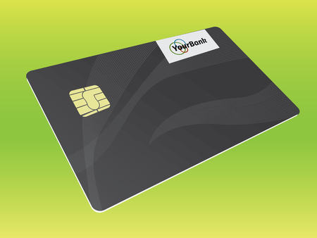 residue: Realistic vector credit card. Business and finance.