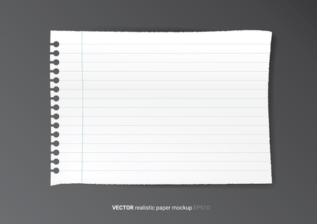 jotter: Realistic blank piece of paper mock up. Torn paper.