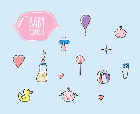 Cute baby icon set Ilustracja