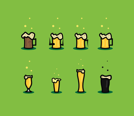 inebriated: Set of beer glasses icons Illustration