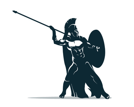 Spartan warrior stylized illustration. Warrior throws javelin. 向量圖像