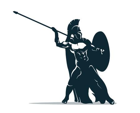 Spartan warrior stylized illustration. Warrior throws javelin. Illustration