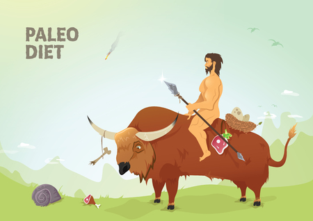 Very quality vector illustration of paleo diet. Caveman riding a buffalo having hunted beef meat. Prehistoric times.