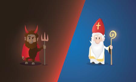 Tiny Saint Nicholas, Nicolaus, Nikolaus with shining staff. Nicolaus and devil characters.  イラスト・ベクター素材
