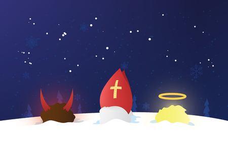 Nicolaus, angel and devil heads in the snow. Illustration