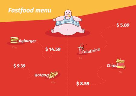 Modern funny cartoon fastfood menu.