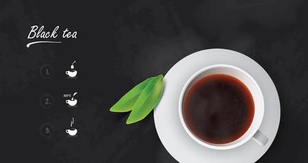 Realistic cup of black tea with black tea leaves.