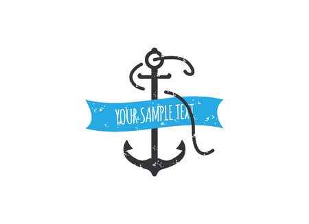 Rusty vector anchor with a twisted ribbon. Illustration