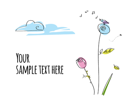 Hand drawn cartoon postcard with flowers