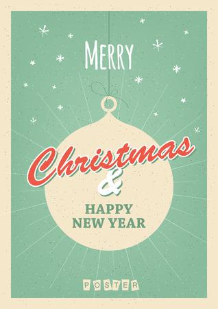 Retro Christmas poster or postcard.