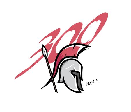 Spartan head badge illustration.