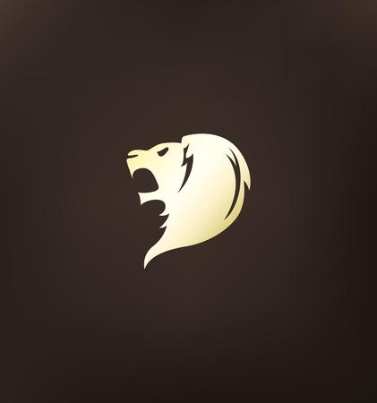 Stylized lion head logo.