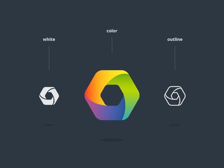 Abstract web symbol. Stylized hexagon icon.